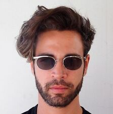 oval silver retro Goth Steampunk flat lens mens sunglasses optical frame Hi Tek