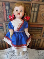 """Vintage 1951 Ideal Saucy Walker 22"""" Doll W/ Working Crier & Original Outfit"""
