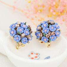 1 Pair Elegant Flower Women Crystal Rhinestone Ear Stud Fashion Earrings Jewelry