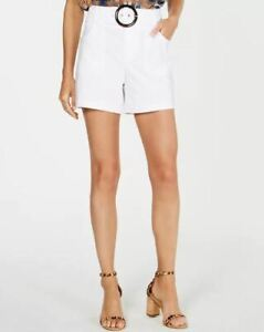 Inc International Concepts White High Rise Belted Shorts Size 4 NWT MSRP $59