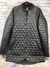 Nike long button down soft shell puffer coat parka mens sz L color olive