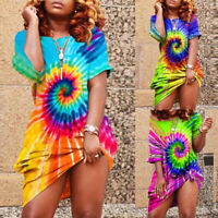 Women's Colorful Tie-Dye Short Sleeve Dress Summer Beach Casual Loose Dresses