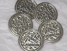 CHANEL PARIS CAMBON CC LOGO 5  SILVER METAL BUTTONS  24  MM/ over 1''  NEW LOT 5