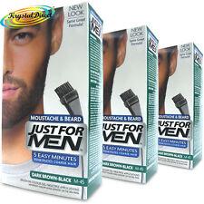 3x Just For Men Moustache Beard Brush In Colour Dye Gel Dark Brown Black M45