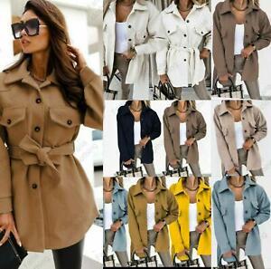 Women's Fleece Shacket Casual Jacket Tie Belt Top Shirt Oversized Tunic Coat New