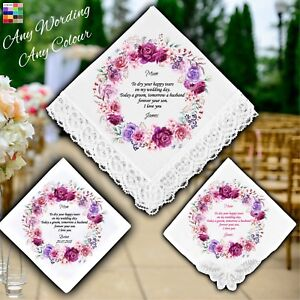 Mother of the Groom Personalised Handkerchief Favour Gift Wreath Flowers Wedding