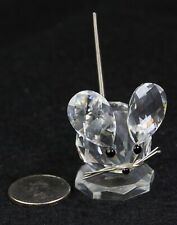 Swarovski Retired Austrian Crystal Large Mouse W/Metail Whiskers And Tail Mib