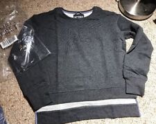 NEW VICTORIA SECRET SPORT LONG SLEEVE CREW MESH LINED GRAPHIC GREY XS SHIRT TAIL