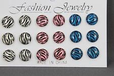 Zebra post earrings 9 pair striped set pack stud post White Pink Teal Black