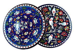 2 Armenian plates HAND CRAFTED CERAMIC PLATE ,21.5 cm made in israel Jerusalem