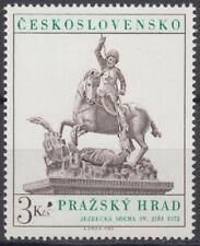 Specimen, Czechoslovakia Sc2420 Prague Castle Art, St. George, Dragon, Horse