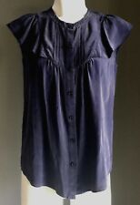 Pre-owned Blue NICOLE FARHI Flutter Sleeve Silk Blouse Size 8