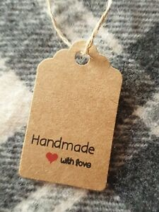 20 Handmade with love kraft paper swing tags 5cm with twine fastener