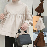 Women Loose Long Sleeve Tops Ruffle Solid High Neck Party Club Blouse Shirt Tee