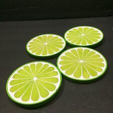 Barware Coasters Lime Slices Citrus Drinks Ceramic Wild Eye Designs 4pcs