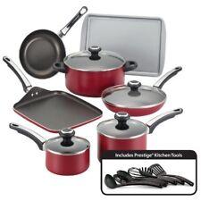 Farberware High Performance Nonstick Aluminum 17-Piece Cookware Set, Red New
