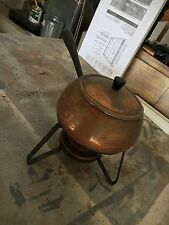 Vintage Copper Fondue Chafing Warming Pot Set With Tray/Burner/Stand
