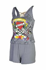 Ed Hardy Women's Jumpsuit, Gray,96% Rayon, 4% Spandex  size X-Small  -  Small -
