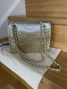 Tory Burch Fleming Metallic Gold Silver Woven Shoulder Flap Bag Brand New