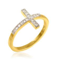 Gold CZ Sideways Cross Ring