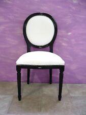Sedia stle Luigi xvi in legno massello laccata nera ecopelle bianca
