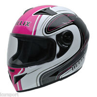 Casco moto integral NZI MUST II WHITE PINK color rosa negro y blanco talla M