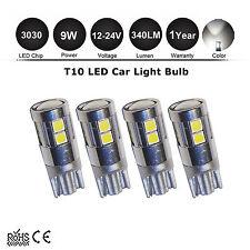 4x T10 W5W 12V 24V 9W LED White Wedge 194 168 Tail Parker boot Plate Light Bulbs