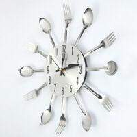 Modern Kitchen Wall Clock Sliver Spoon Fork Cutlery Creative Home Decor Gift
