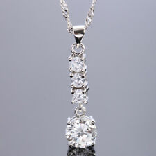 Christmas Wedding jewel ROUND CUT TOPAZ White Gold Plated PENDANT NECKLACE jewel