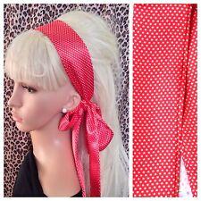RED POLKA DOT SPOT SATIN HAIR SCARF HEAD BAND SELF TIE BOW 60s RETRO FANCY DRESS
