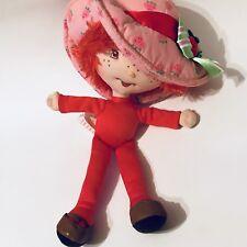 "Bandai Plush Strawberry Shortcake Doll 10"" 2003 Red Floppy Hat Yarn Hair"