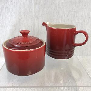 Le Creuset Cerise (Red) Sugar Bowl And Creamer Set