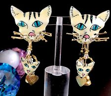SENSATIONAL SIGNED  LUNCH AT THE RITZ KITTY CAT HEART CHARM DANGLE CLIP EARRINGS