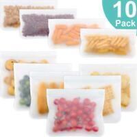 /LOT 10pcs PEVA Silicone Fruit Food Bag Leakproof Reusable Fresh Kitchen Storage