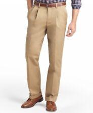 IZOD American Pleat Classic Fit Wrinkle Free English Khaki Mens Size 36x29 New