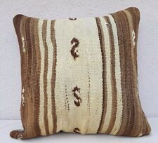 20''x20'' Brown Striped Handwoven Pillow Cover Mud Cloth Farmhouse Kilim Pillow