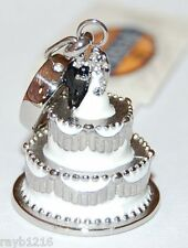 NWT Fossil Brand Silver Metal & White Enamel Wedding Cake Designed Charm