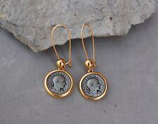Replica Antique Antiquity Coin Earrings Alexander Emperor Gold Tone Pierced Ear