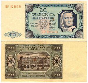Poland 20 Złotych P#137(2) (1948) Narodowy Bank Polski VF