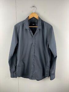 Asks Men's Long Sleeve Button Up Shirt Size L Black