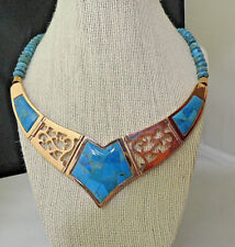 WOW Jay King Mine Finds reversible Turquoise & Copper Necklace HSN  2012 N8409