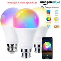 E27 Smart LED Light Bulb 15W WiFi RGB Color Changing + App Control Alexa Google