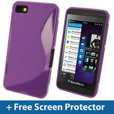 Purple Dual Tone TPU Gel Case for BlackBerry Z10 Cover Skin Holder Shell Bumper