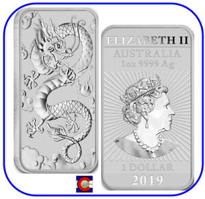 2019 Australia Perth Mint 1 oz Silver Dragon Bar Australian Coin in capsule