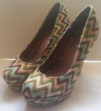 Madden Girl platform shoes Malley 5in heel chevron zigzag pink blue pastel 9