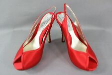 BNIB PURE BY DIANE HASSALL RED SILK DIAMONTE HEELED LEATHER SHOES: SIZES 2 - 6.5
