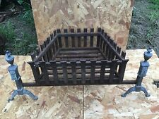 Wrought Iron and brass Fire Basket Dog Grate Fireplace Fire Grate vintage