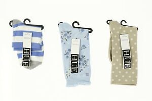 Lot of 3 HUE socks stripped / floral / chinos dot 140573