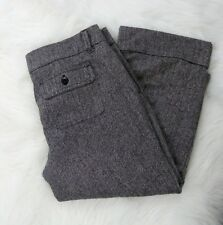 Old Navy Capris Wool Rayon Blend Herringbone Black White Cuffed lined Size 14