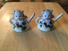 Set Of Vintage Cat Tea Kettle Salt And Pepper Shakers From Victoria Ceramics Jap